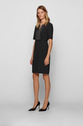 Shift dress in stretch virgin wool with notch neckline, Black