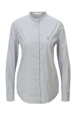 Gestreifte Relaxed-Fit Bluse aus elastischem Baumwoll-Mix, Hellgrün