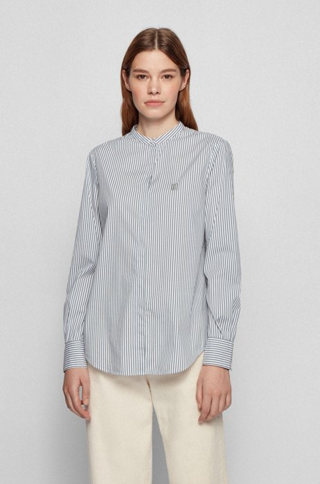 Relaxed-fit striped blouse in a stretch-cotton blend, Light Green