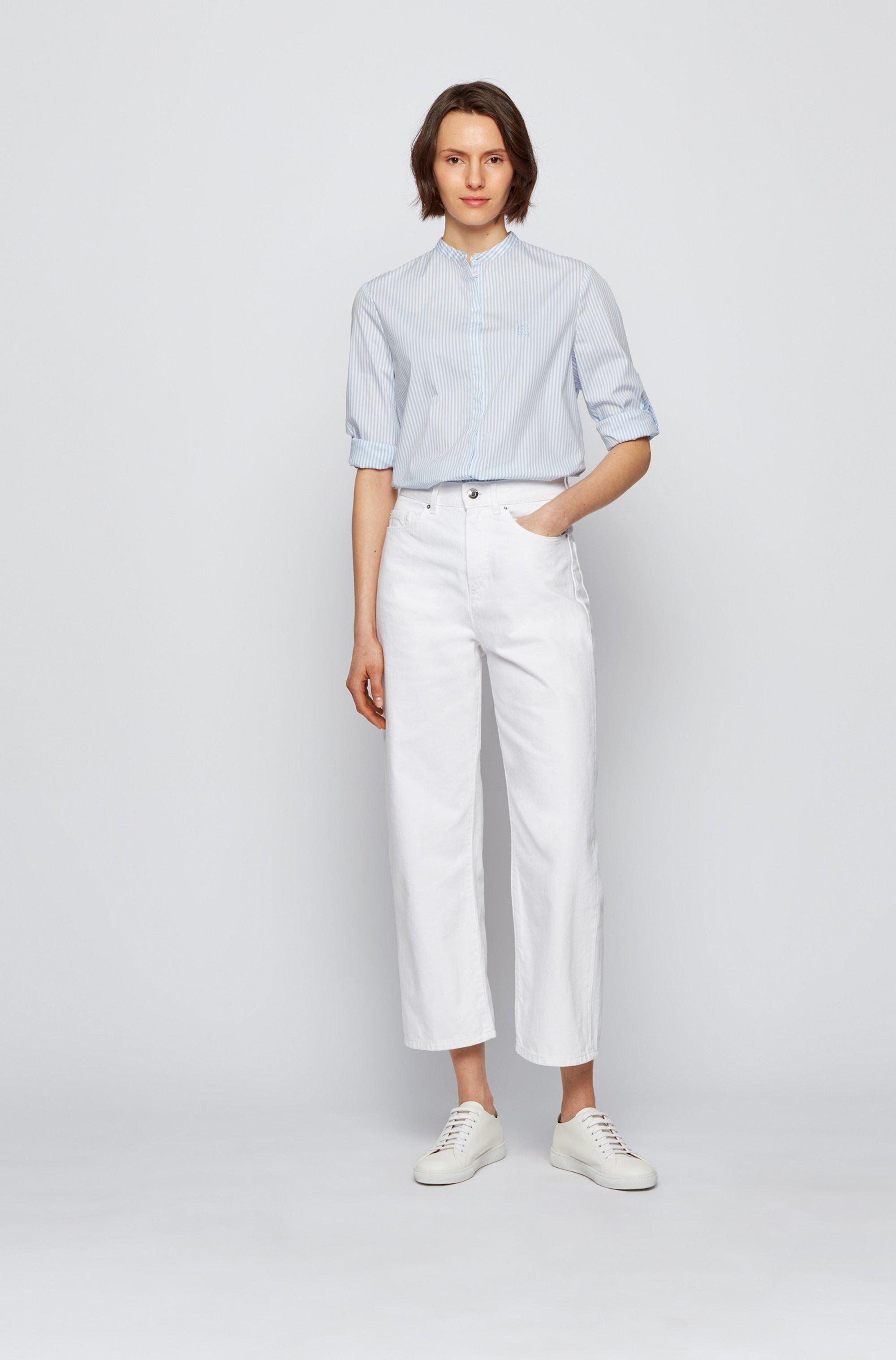Blusa relaxed fit a rayas en mezcla de algodón elástico