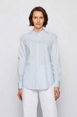 Blusa relaxed fit a rayas en mezcla de algodón elástico, Celeste