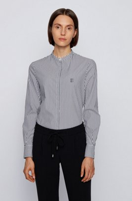 Relaxed-fit striped blouse in a stretch-cotton blend, Light Blue