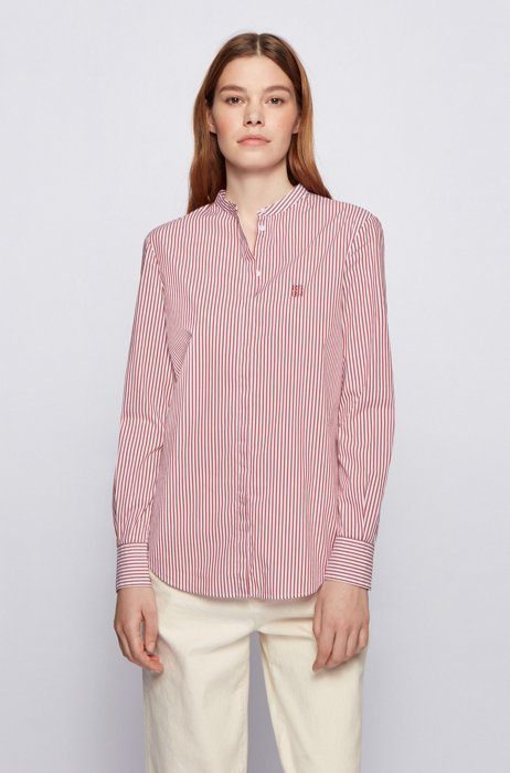 Relaxed-fit striped blouse in a stretch-cotton blend, Red