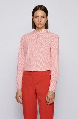 Gestreifte Relaxed-Fit Bluse aus elastischem Baumwoll-Mix, Dunkelorange