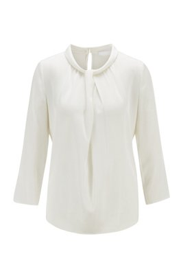 Twist-detail top in stretch silk crepe de Chine, White