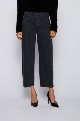 Relaxed-fit cropped jeans in dark-blue stretch denim, Dark Blue