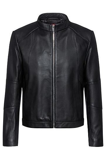 超修身立领纳帕皮革夹克,  001_黑色