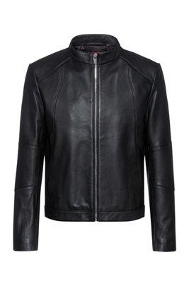 Extra Slim-Fit Jacke aus Nappaleder mit Stehkragen, Schwarz