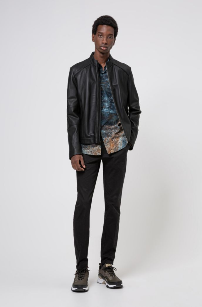 Extra-slim-fit nappa-leather jacket with stand collar