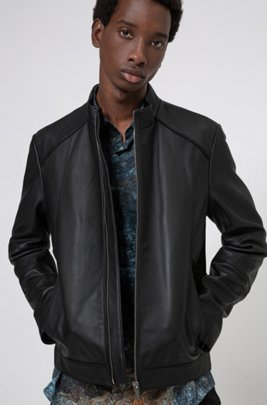 Extra-slim-fit nappa-leather jacket with stand collar, Black