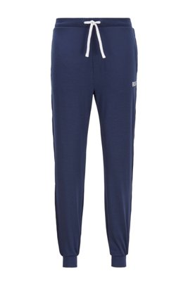 Logo pyjama trousers in lightweight stretch jersey, Dark Blue