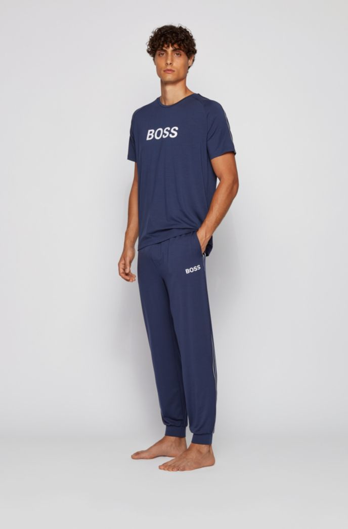 Logo pyjama trousers in lightweight stretch jersey