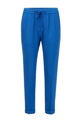 Jogging trousers in fluid fabric with monogram embroidery, Light Blue
