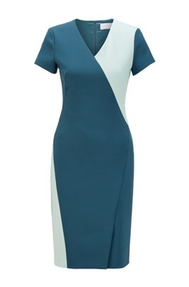 Shiftdress van Portugees stretchmateriaal met color-blocking, Donkerblauw
