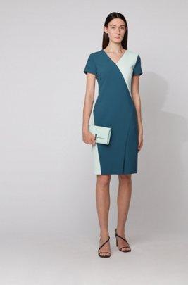 Shift dress in colour-block Portuguese stretch fabric, Dark Blue