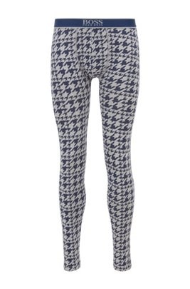 Houndstooth-print long johns in stretch cotton, Light Blue
