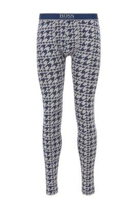 Lange onderbroek van stretchkatoen met pied-de-poule-print, Lichtblauw