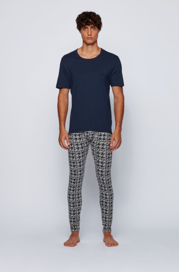 Houndstooth-print long johns in stretch cotton