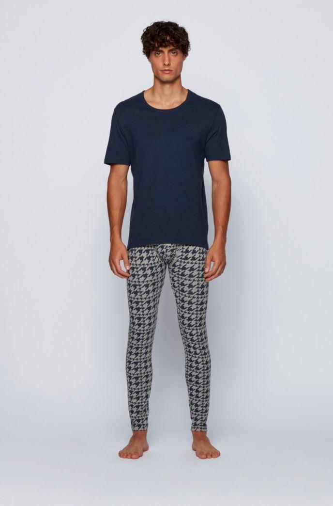 Lange onderbroek van stretchkatoen met pied-de-poule-print