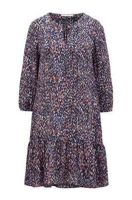 Tie-neck tunic dress with all-over print, Patterned