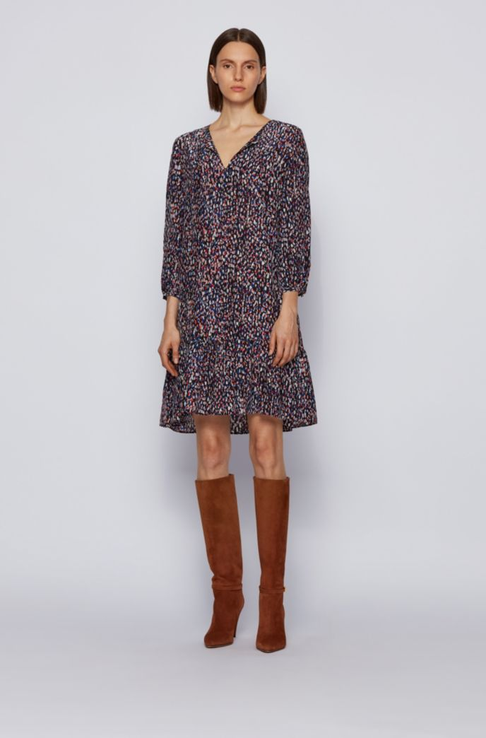 Tie-neck tunic dress with all-over print