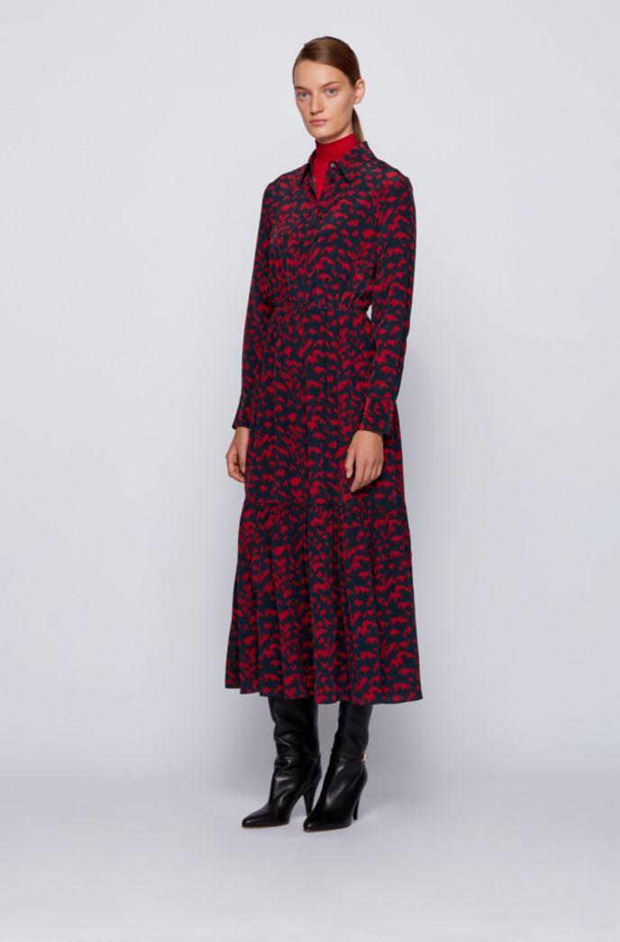 Vestido camisero estampado con cintura fruncida y tapeta de polo