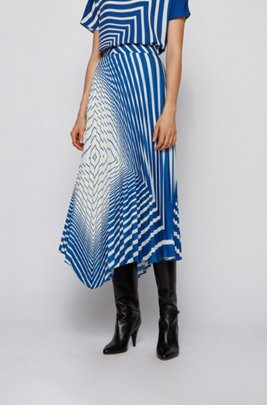 Asymmetric plissé skirt with foulard-inspired stripe print, Patterned
