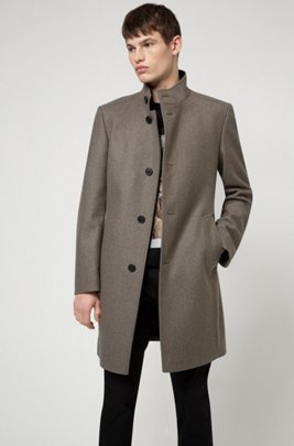 Formal coat in a wool blend with wadding, Light Brown
