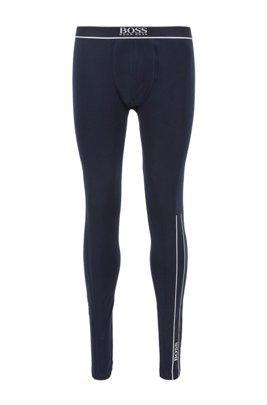 Lange onderbroek van stretchkatoen met thermisch gehecht logo, Donkerblauw