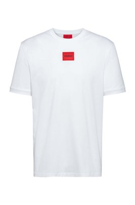 Cotton-jersey crew-neck T-shirt with logo badge, White