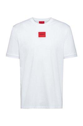 T-Shirt aus Baumwoll-Jersey mit Rundhalsausschnitt und Logo-Aufnäher, Weiß