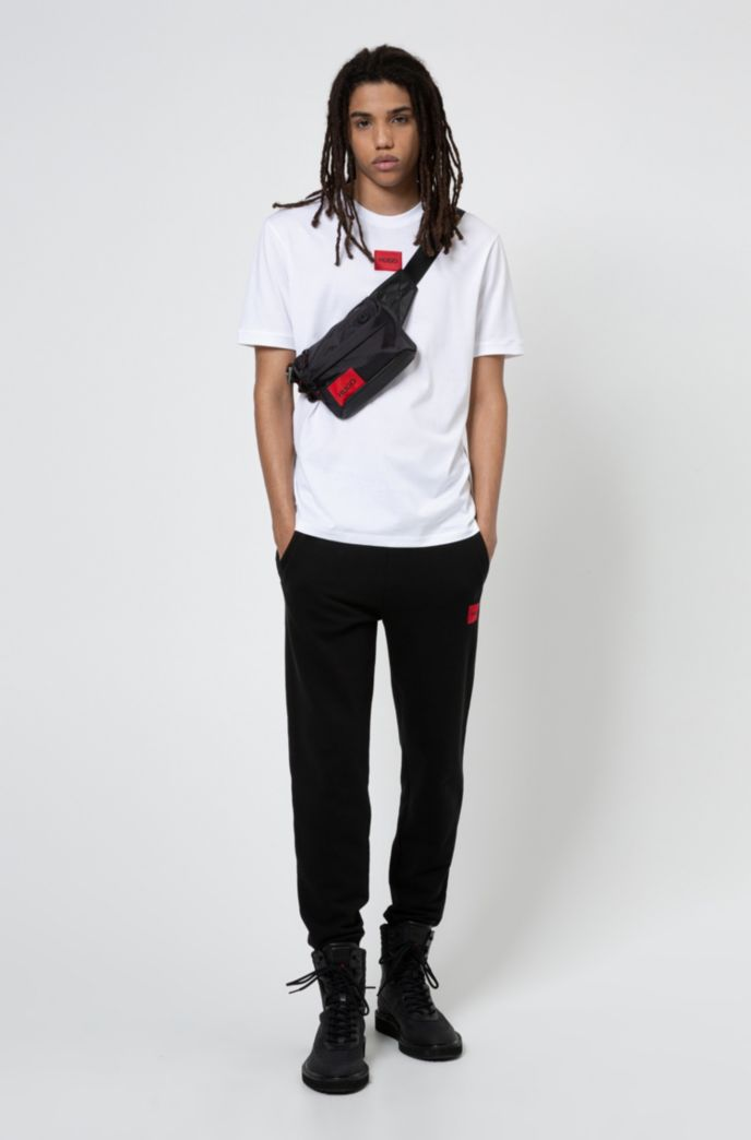 Cotton-jersey crew-neck T-shirt with logo badge