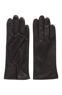 Lamb-leather gloves with metallic logo badge, Black