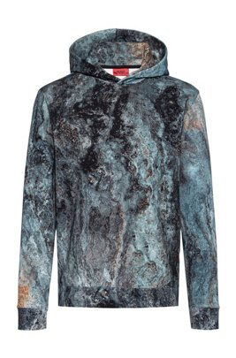Hooded sweatshirt in cotton with collection-themed marble print, Blue