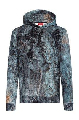 Sweater met capuchon van katoen met nieuwe marmerprint, Blauw