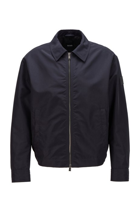 Blouson-style jacket in soft-touch fabric, Dark Blue