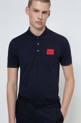 Cotton-piqué polo shirt with logo label, Dark Blue