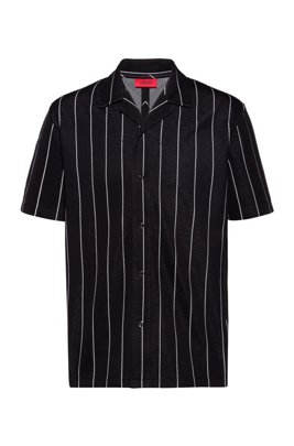 Relaxed-fit polo shirt in jacquard-stripe jersey, Black