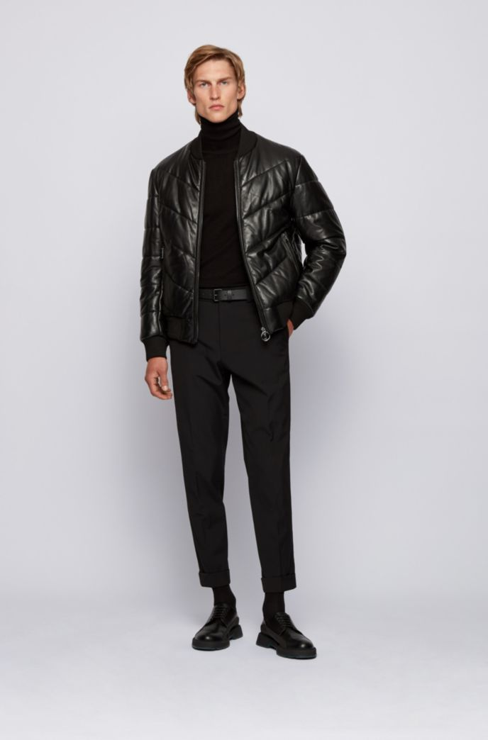 Relaxed-fit quilted-leather jacket with ribbed trims