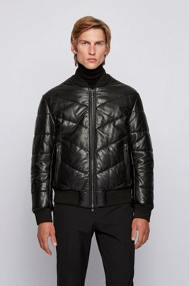 Relaxed-fit quilted-leather jacket with ribbed trims, Black