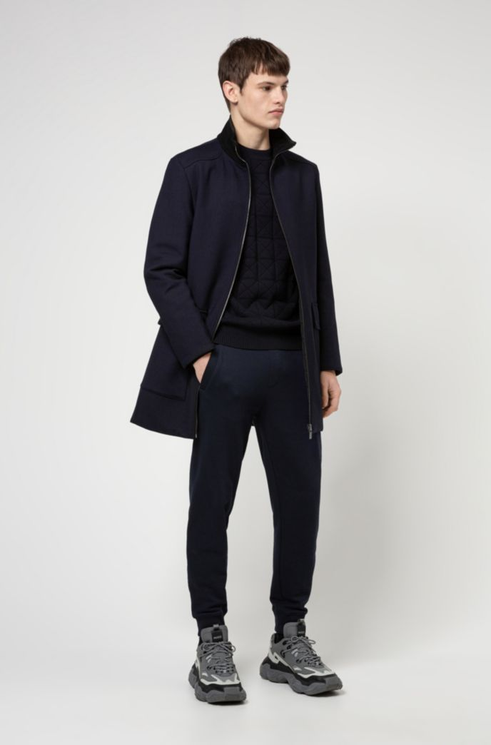 Reversible slim-fit coat with zip-through front