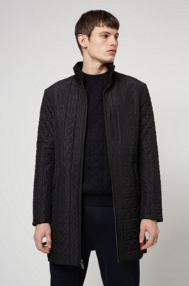 Reversible slim-fit coat with zip-through front, Dark Blue