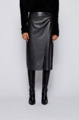 Wrap-style pencil skirt in faux leather, Black