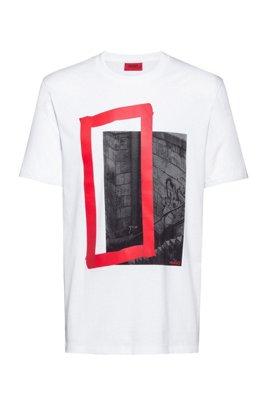 T-shirt en jersey de coton biologique, avec imprimé graphique, Blanc