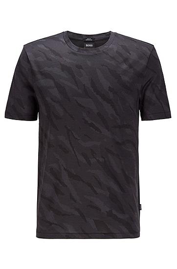 提花针织斑马图案修身 T 恤,  001_黑色