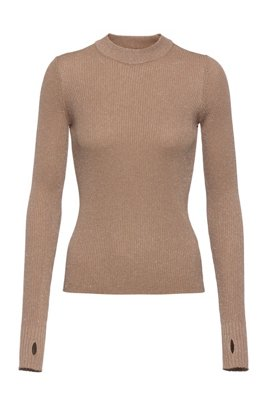 Mock-neck sweater in sparkling yarns, Light Brown
