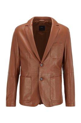 Giacca slim fit in pelle d'agnello, Marrone scuro