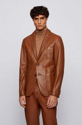 Slim-Fit Jacke aus Leder, Dunkelbraun