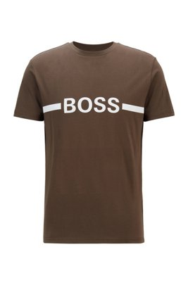 Slim-fit T-shirt in cotton with sun protection, Khaki