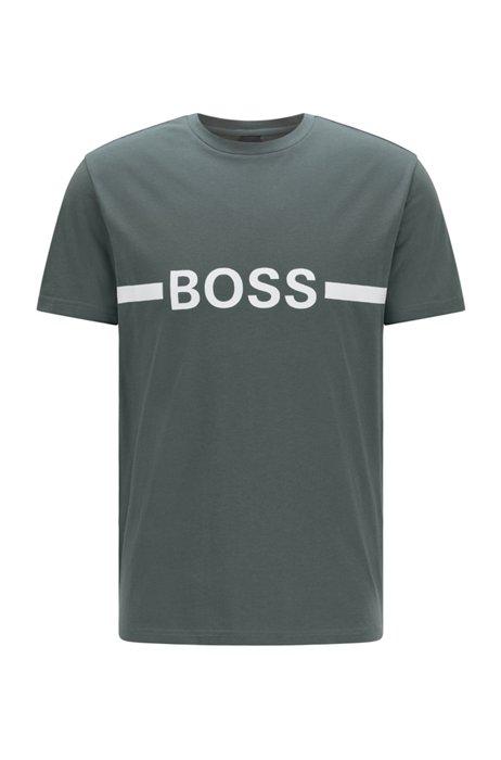 Slim-fit T-shirt in UPF 50+ cotton with logo, Dark Green
